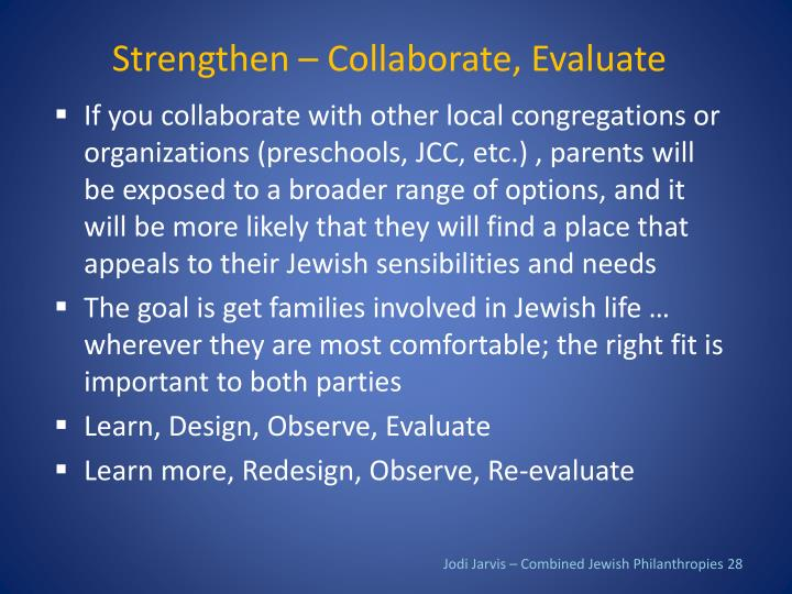 Strengthen – Collaborate, Evaluate