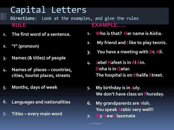 capital letters directions look at the examples and give the rules n.