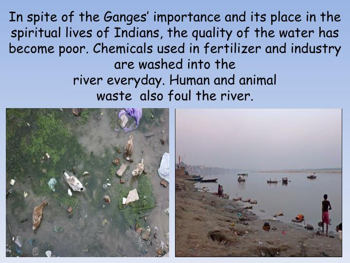 In spite of the Ganges' importance and its place in the spiritual lives of Indians, the quality of the water has become poor. Chemicals used in fertilizer and industry are washed into the