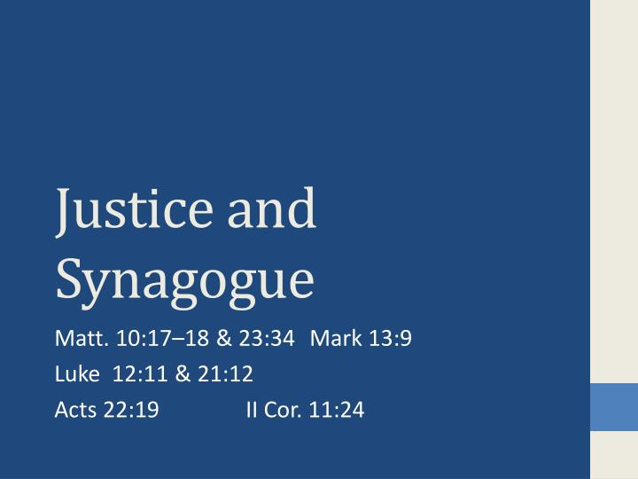 justice and synagogue n.