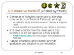a cumulative tradition kosher symbols