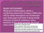 round 1 creating a slang dictionary