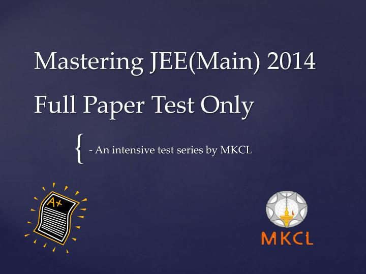 mastering jee main 2014 full paper test only n.