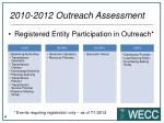 2010 2012 outreach assessment
