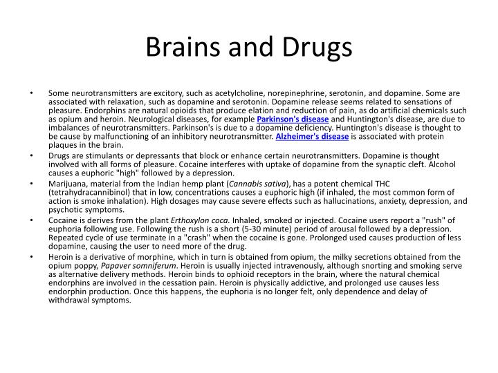 Brains and Drugs