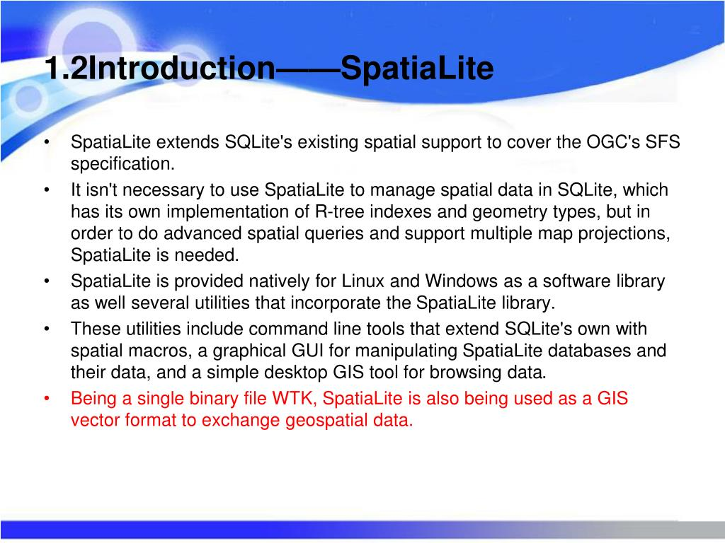 PPT - SpatiaLite Introduction Spatial Is Not Special
