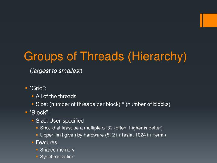 Groups of threads hierarchy