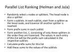 parallel list ranking helman and jaja