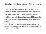 parallel list ranking on gpus steps2