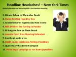 headline headaches new york times