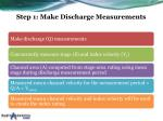 step 1 make discharge measurements