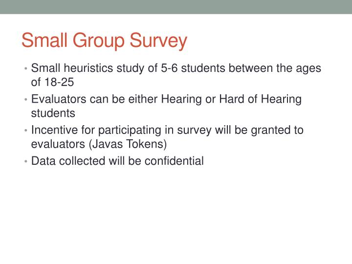 Small Group Survey