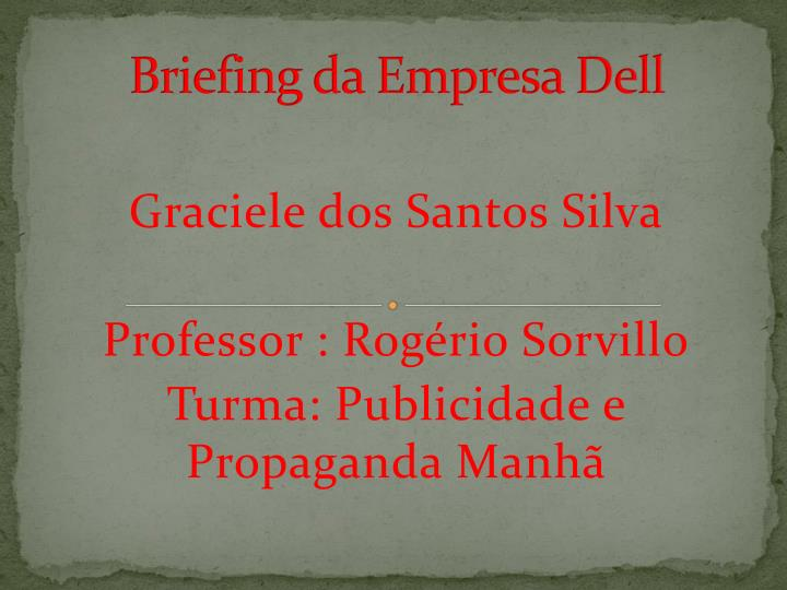 briefing da empresa dell n.