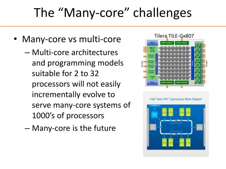 """The """"Many-core"""" challenges"""