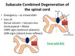 subacute combined degeneration of the spinal cord
