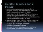 specific injuries for a thrower