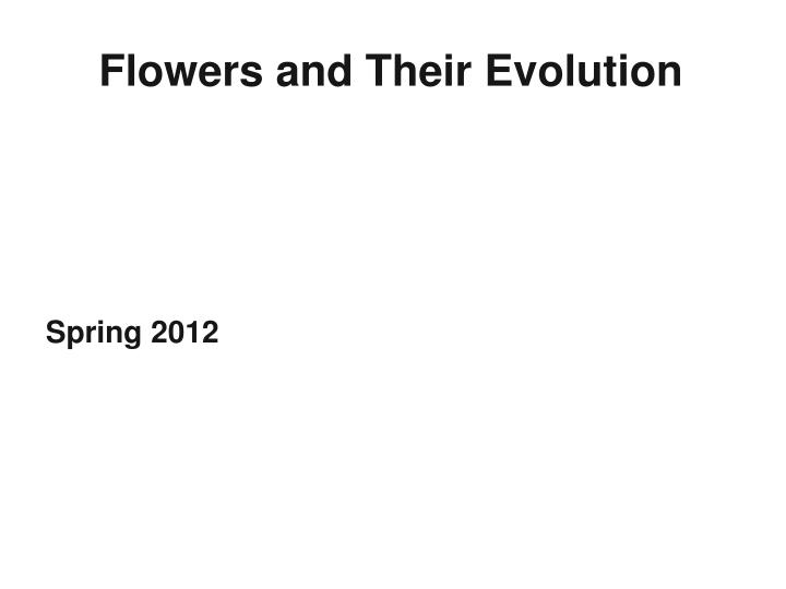 flowers and their evolution n.