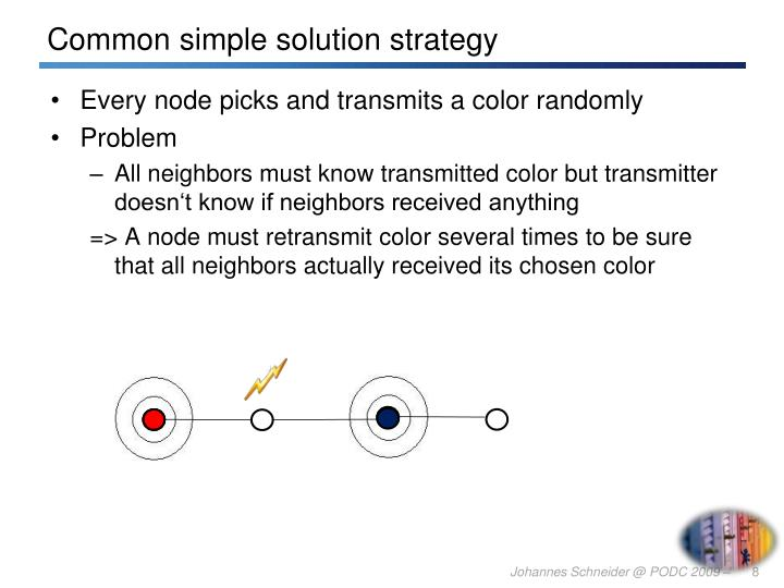Every node picks and transmits a color randomly