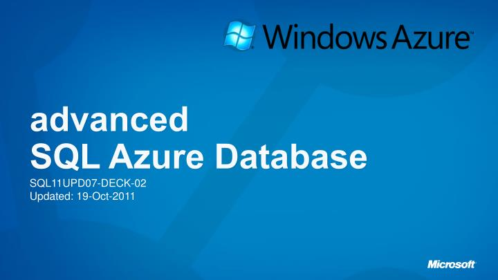 advanced sql azure database n.
