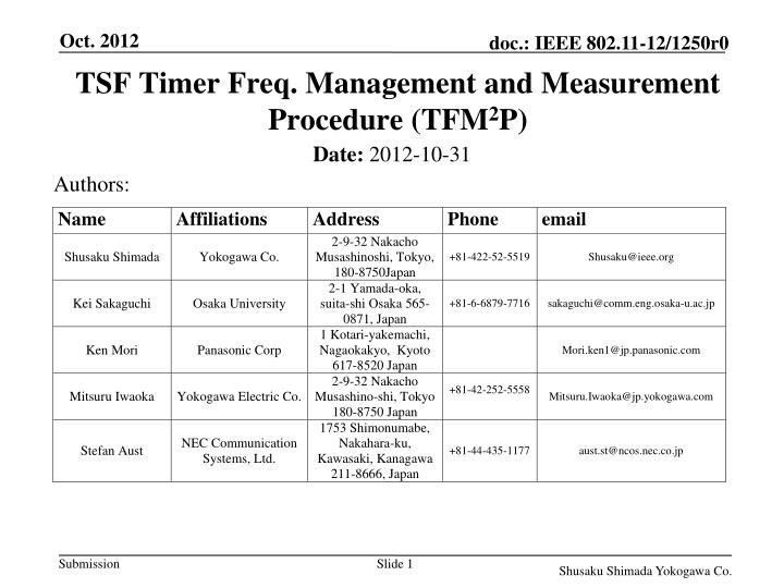 tsf timer freq management and measurement procedure tfm 2 p n.
