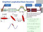 simplified longitudinal beam dynamics