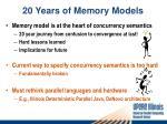20 years of memory models