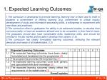 1 expected learning outcomes
