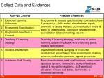 collect data and evidences