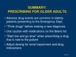 summary prescribing for older adults