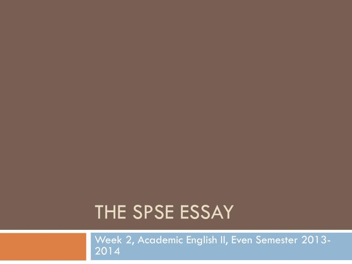 the spse essay n.
