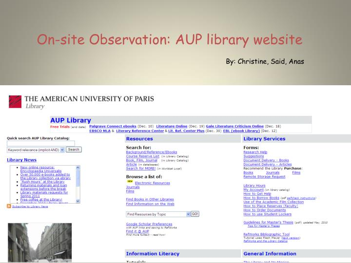 on site observation aup library website n.