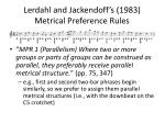 lerdahl and jackendoff s 1983 metrical preference rules