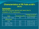 characteristics of pe fails at 60 n 57