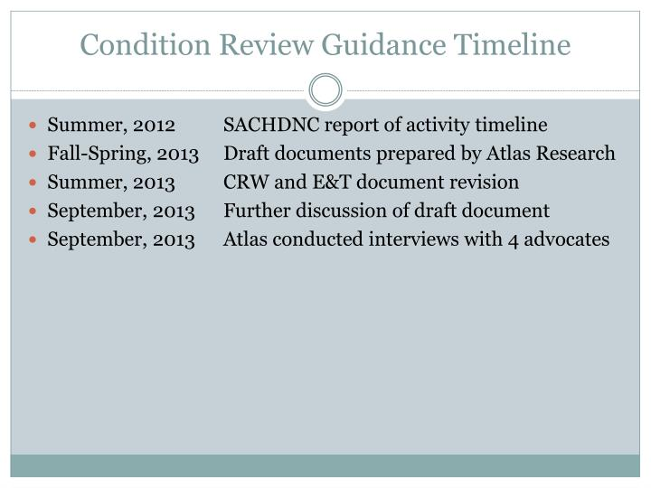 Condition Review Guidance Timeline