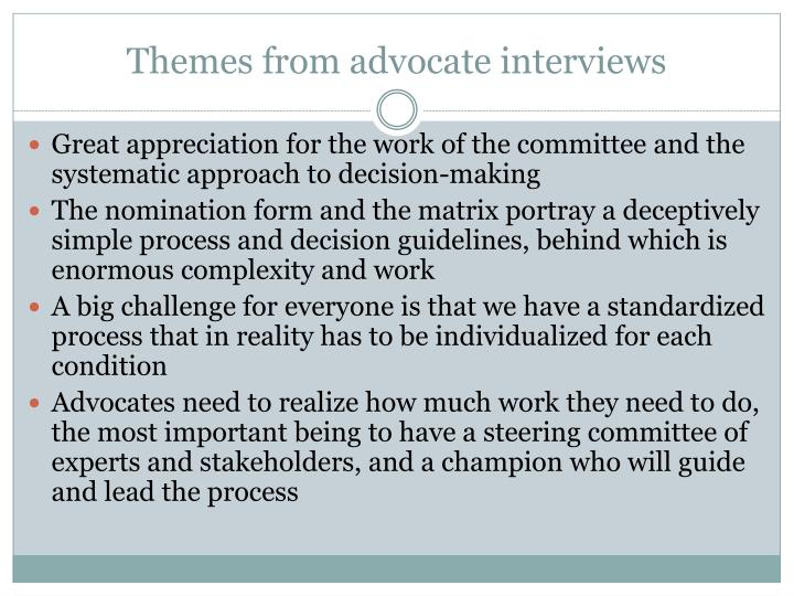 Themes from advocate interviews