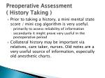 preoperative assessment history taking