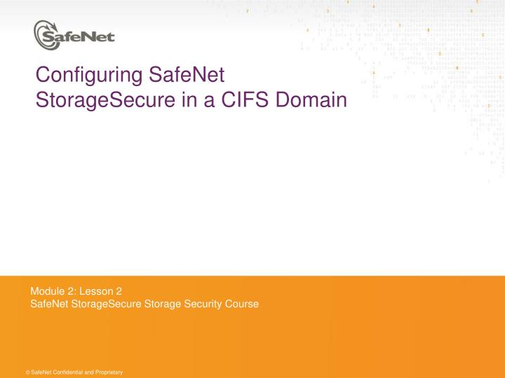 configuring safenet storagesecure in a cifs domain n.