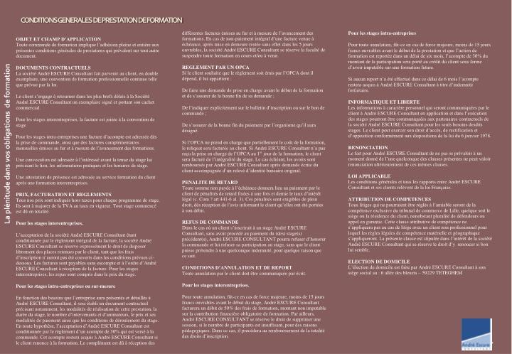 CONDITIONS GENERALES DE PRESTATION DE FORMATION