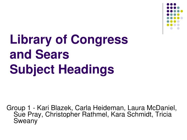 library of congress and sears subject headings n.