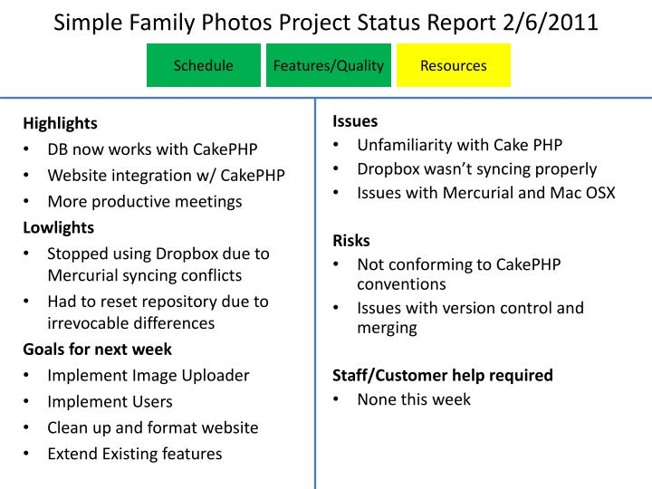 simple family photos project status report 2 6 2011 n.
