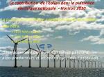 la contribution de l olien dans la puissance lectrique nationale horizon 2030