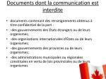 documents dont la communication est interdite