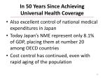 in 50 years since achieving universal health coverage