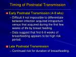 timing of postnatal transmission