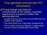 virus genotype and perinatal hiv transmission