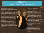 etiquette for mis social dance in the hall