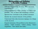 recognizing and defining a decision problem