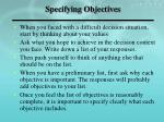 specifying objectives