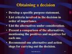 obtaining a decision