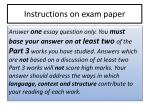instructions on exam paper